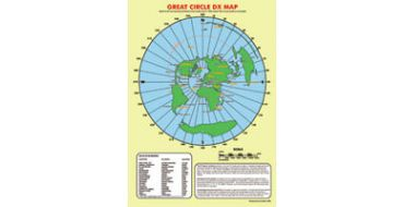 A3 Size GRTD-MAP Great Circle DX Desk Map full colour