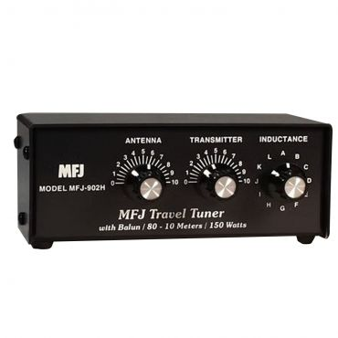 MFJ-902H TRAVEL TUNER, 10-80M, 150W, WITH /BALUN
